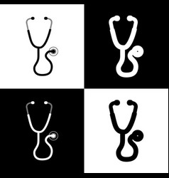 Stethoscope sign   black and vector
