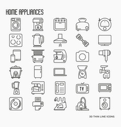 Home appliances thin line icons vector