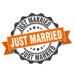 Just married stamp sign seal vector