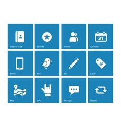 Social icons on blue background vector