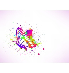Rainbow ink butterfly on white background vector