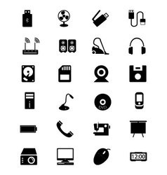 Electronics solid icons 2 vector