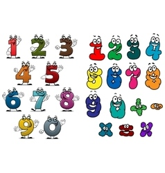 Cartoon colorful numbers and digits vector