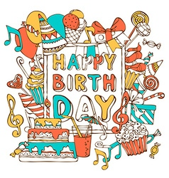 Hand-drawn happy birthday card vector