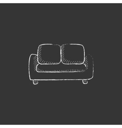 Sofa drawn in chalk icon vector