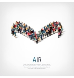 Air people sign 3d vector
