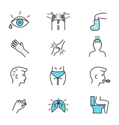 Illness and diseases symptoms outline icons vector