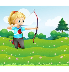 A girl at the garden holding a bow and an arrow vector image vector image