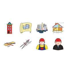 architecture and construction icons in set vector image