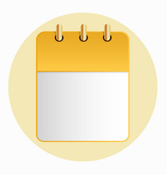 Blank sheet of calendar yellow color on the light vector