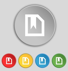 bookmark icon sign Symbol on five flat buttons vector image vector image