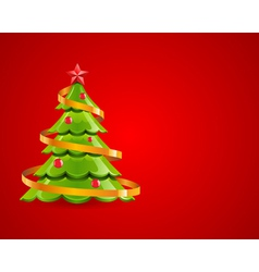 christmas glossy tree with red star vector image