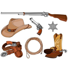 Cowboy objects set vector