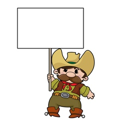 cowboy with blank sign vector image vector image