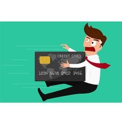 Credit card attack businessman vector