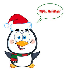 cute christmas penguin with open wings vector image