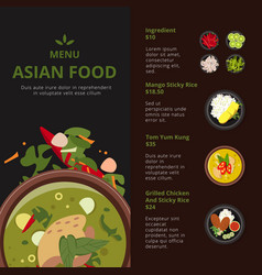 design template of asian food menu vector image vector image