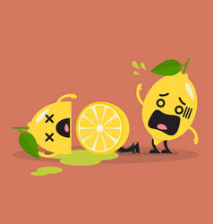 died cut lemon with shocked lemon vector image vector image