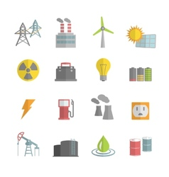 Energy Power Flat Icons Set vector image