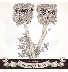 Fable forest hand drawn by a vintage font - V vector image vector image