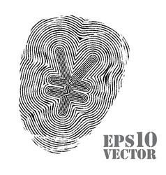 Fingerprint with yen sign vector