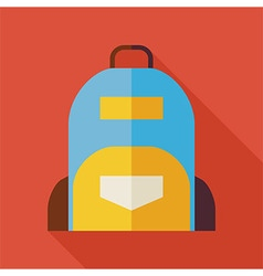 Flat School Bag with long Shadow vector image vector image