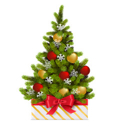 gift box with christmas tree vector image
