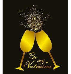 Golden champagne glasses vector