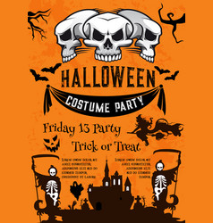 halloween holiday poster for costume horror party vector image vector image