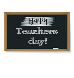 happy teacher day school chalkboard with vector image vector image