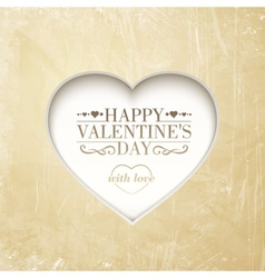 Happy valentines day background with heart vector image