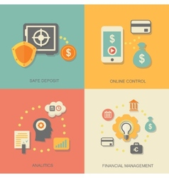 Icons of financial analytics online banking and vector