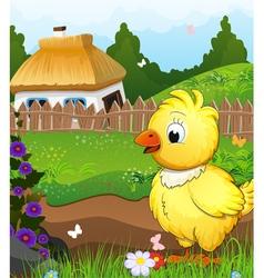 Little chicken on a green meadow vector
