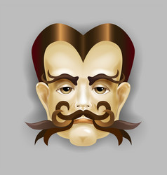 man with a beautiful hair and a luxurious mustache vector image