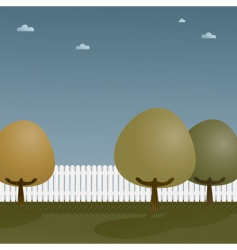 picket fence with trees vector image