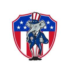 Republican elephant mascot thumbs up usa flag vector