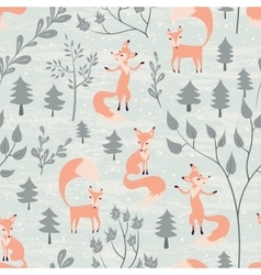 Seamless pattern with fox in winter forest vector image vector image