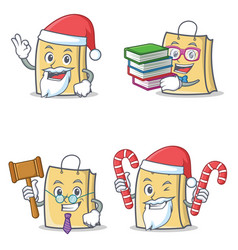Set of bag character with santa book judge candy vector