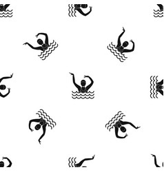 Swimmer in a swimming pool pattern seamless black vector