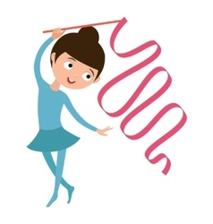 Teenager doing gymnastics dance with ribbon vector