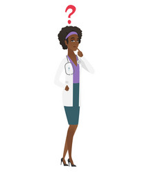 thinking doctor with question mark vector image vector image