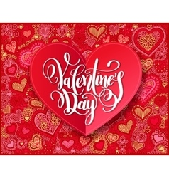 Valentines day calligraphy design on red paper vector image