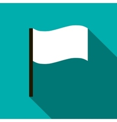 White flag icon flat style vector image