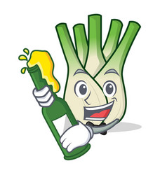 With beer fennel mascot cartoon style vector