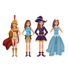 women cosplay style vector image vector image