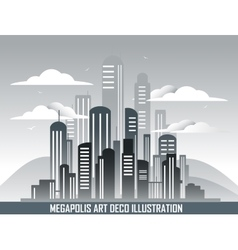 Retro megalopolis in art deco style vector
