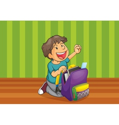 a boy with schoolbag vector image