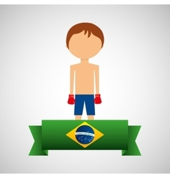 Cartoon boxing player brazilian label vector