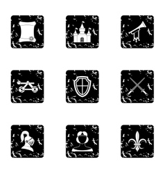 Military middle ages icons set grunge style vector