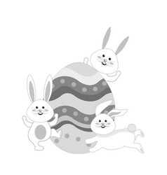 Grayscale rabbits easter with decorated egg in the vector